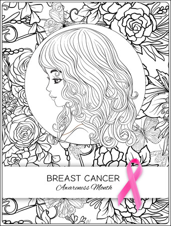 Breast cancer awareness month poster with pink ribbon and women portrait on floral pattern background.