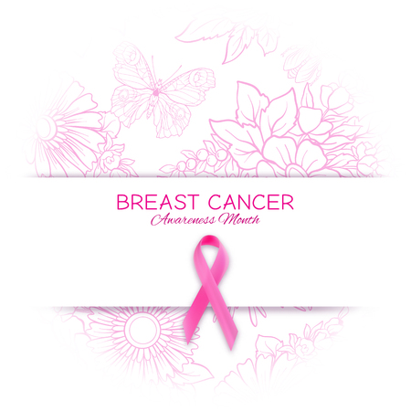 Breast cancer awareness month poster with pink ribbon and floral pattern. Vector illustration. Illustration