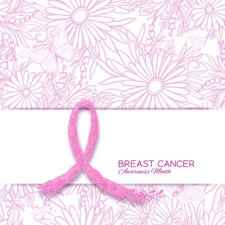 Brustkrebs-Bewusstseinsmonatsplakat mit rosa Band und Blumenmuster. Vektor-illustration Standard-Bild - 86279200
