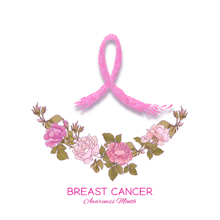 Breast cancer awareness month poster with pink ribbon and rose breast cancer awareness month poster with pink ribbon and rose flowers vector illustration stock mightylinksfo