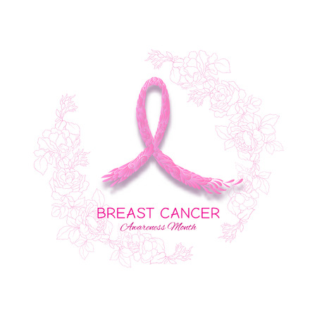 Breast cancer awareness month poster with pink ribbon and rose flowers. Vector illustration.