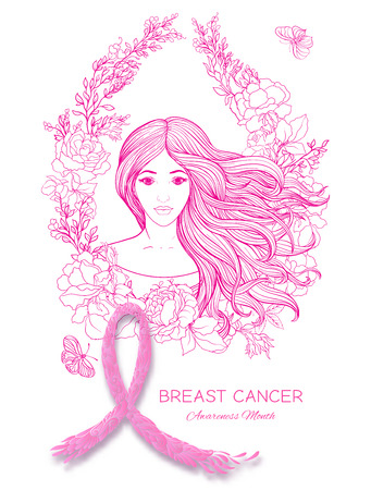 Breast cancer awareness month poster with pink ribbon and women portrait.