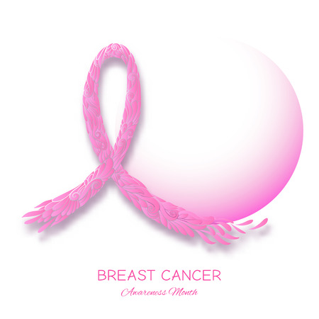 Breast cancer awareness month poster with pink ribbon. Vector illustration. Illustration