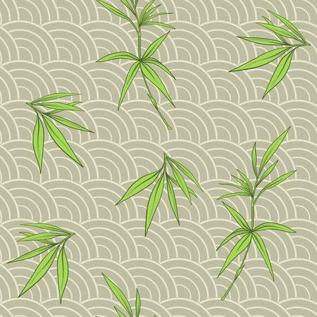 대나무 잎과 일본 스타일에서 분기 원활한 패턴. 벡터 일러스트 레이 션.