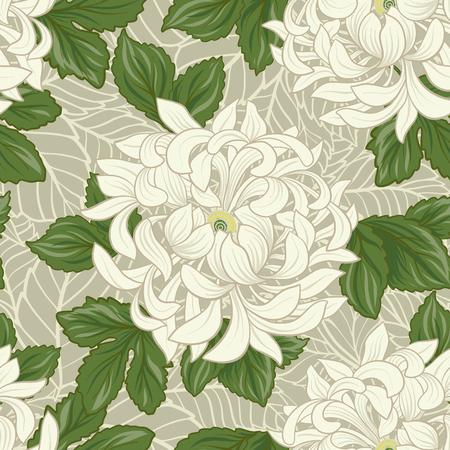 日本のスタイルで白菊とのシームレスなパターン。ベクター素材のイラスト。
