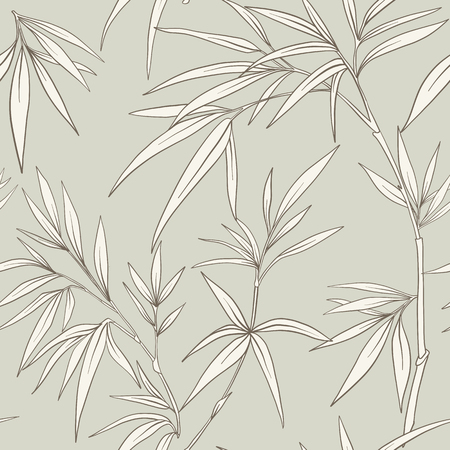 Seamless pattern with bamboo leaves and branches in Japanese style. Vector stock illustration.