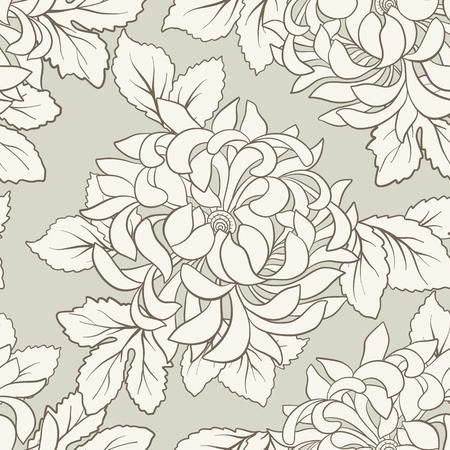 일본 스타일에 흰 국화와 원활한 패턴입니다. 벡터 일러스트 레이 션.