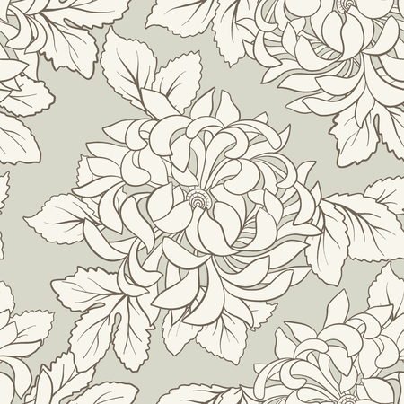 Seamless pattern with white chrysanthemum in Japanese style. Vector stock illustration.