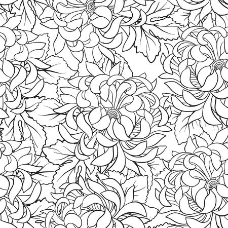 Seamless avec le chrysanthème dans le style japonais . dessin de coloriage livre à colorier pour le livre de coloriage . vector illustration Banque d'images - 86311903