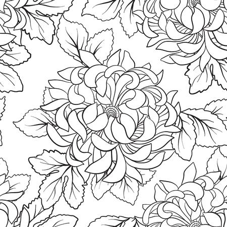 Patrones Sin Fisuras Con Crisantemo En Estilo Japonés. Dibujo De ...