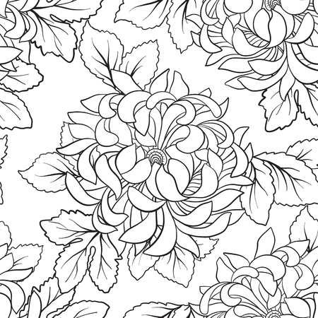 Seamless pattern with chrysanthemum in Japanese style. Outline drawing coloring page. Coloring book for adult. Vector stock illustration.