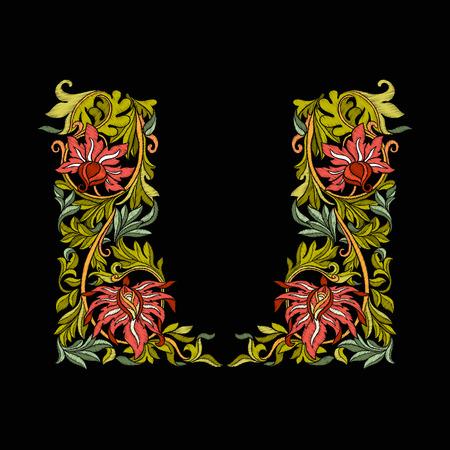 꽃과 나뭇잎 수 놓은 디자인 요소입니다. 일러스트