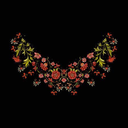 Elementos de diseño bordado con flores y hojas. Foto de archivo - 86311915