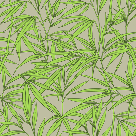 Seamless pattern with bamboo leaves and branches in Japanese sty.