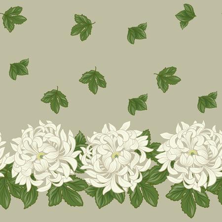 일본 스타일에 흰 국화와 원활한 패턴입니다.
