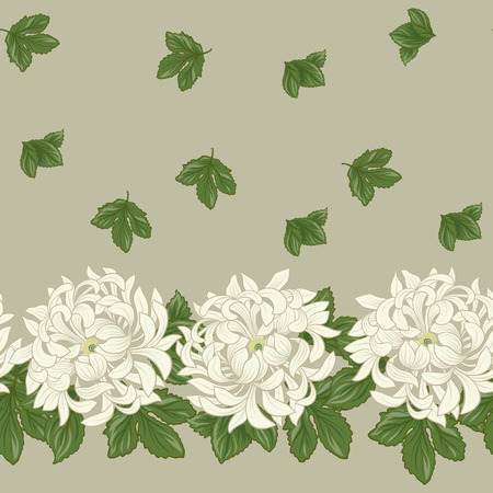 Seamless pattern with white chrysanthemum in Japanese style.