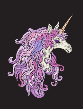 Embroidered design element - unicorn - in vintage st.