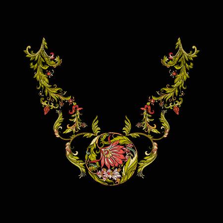 刺繍。花や葉との刺繍デザイン要素。  イラスト・ベクター素材