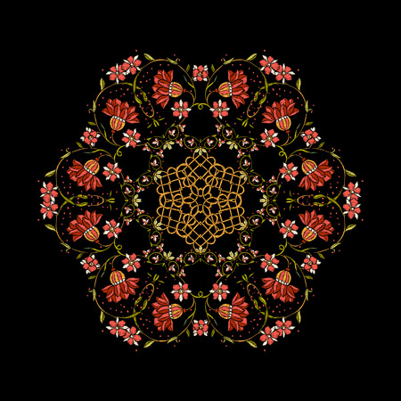 Embroidery. Embroidered design mandala elements with flowers.
