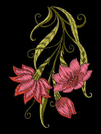 자수. 꽃과 검정색 배경에 빈티지 스타일의 잎 수 놓은 디자인 요소. 주식 벡터 일러스트 레이 션. 일러스트