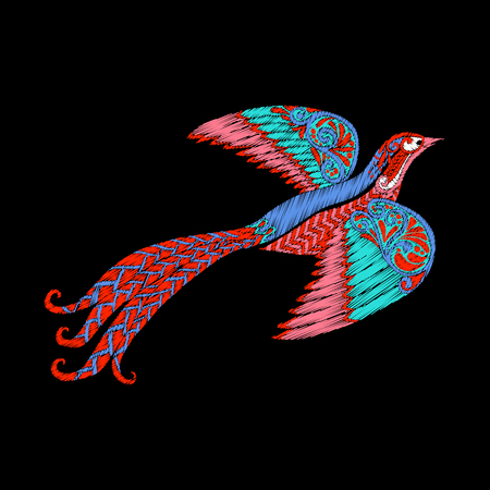 addition: Embroidery. Embroidered design element - bird - in vintage style on a black background. Stock vector illustration. Illustration