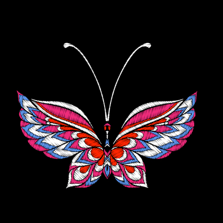 Embroidery. Embroidered design element butterfly - in vintage style on a black background. Stock vector illustration.