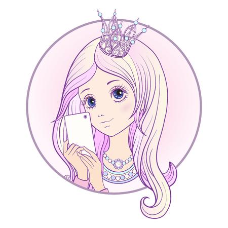 Het jonge aardige meisje met lang multi gekleurd roze hoort en prinses Crown op haar hoofd maakt selfie of fotografeert op een mobiele telefoon. Voorraad vector. Stock Illustratie