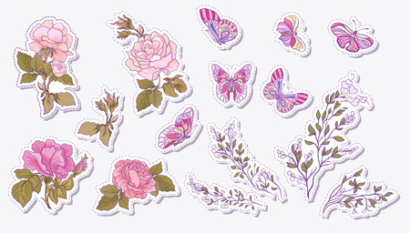 Sticker, patches elements, fashion patch badges with rose, butterfly and branch set. Stock line vector illustration. Illustration