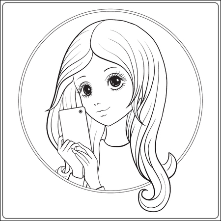 Young nice girl with long hear make selfie or photograph on a mobile phone. Outline drawing coloring page. Coloring book for adult. Stock vector. Ilustração