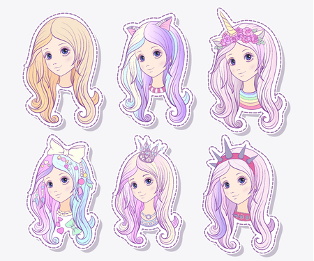 Set of 6 styles of young girl with pink colored long hair and different accessories on her head. Stock line vector illustration.