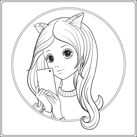 Aislado Monocromático Gato Chica Anime Manga Vector De La Historieta ...