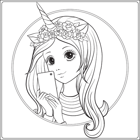 Young nice girl with long hear and unicorn horn and roses on her head make selfie or photograph on a mobile phone. Outline drawing coloring page. Coloring book for adult. Stock vector. Ilustracja