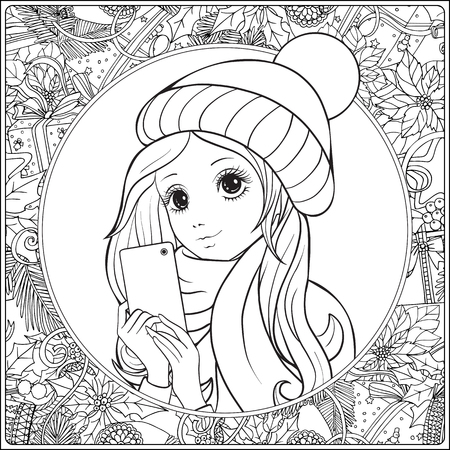 Young nice girl with long hear in winter hat on her head make selfie or photograph on a mobile phone. Outline drawing coloring page. Coloring book for adult. Illustration