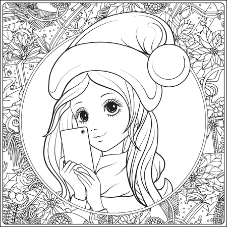 Young nice girl with long hear and Santa Claus hat on her head make selfie or photograph on a mobile phone. Outline drawing coloring page. Coloring book for adult. Stock vector. Illustration