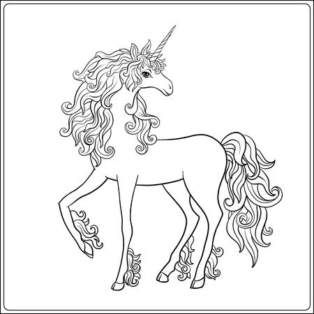 Unicorn And Fantastic Vintage Frame And Flowers. Vector Illustration ...
