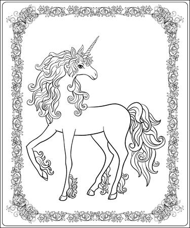 Eenhoorn in het frame, arabesk in de koninklijke, middeleeuwse stijl. Overzichtstekening kleurplaat. Kleurboek voor volwassenen. Voorraad vector.