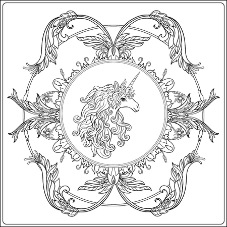 Unicorn in the frame, arabesque in the royal, medieval style. Outline drawing coloring page. Coloring book for adult. Stock vector.