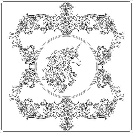 Unicornio En El Marco, Arabesco En El Estilo Real Y Medieval ...