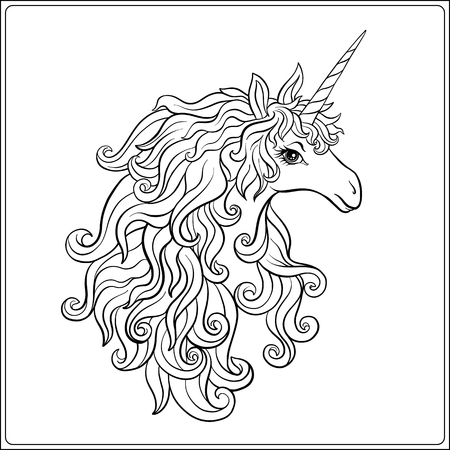 Unicorn. Outline drawing coloring page. Coloring book for adult. Stock vector. Illustration