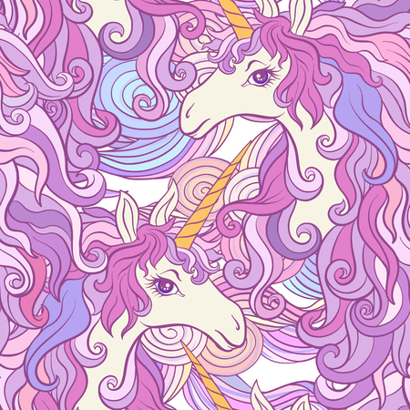 Unicorn with multicolored mane. Seamless pattern in pink, purple colors. On a white background. Stock vector. Фото со стока - 86422512