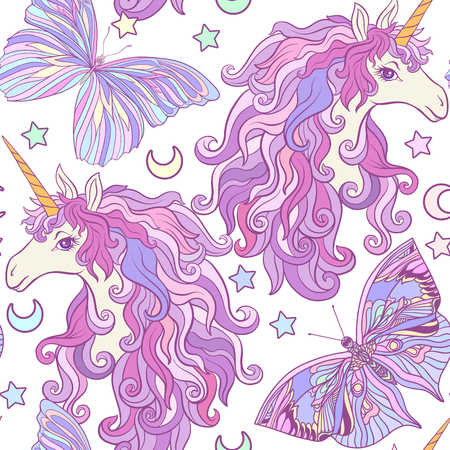 Eenhoorn met veelkleurige manen, vlinderregenboog, ster. Naadloos patroon in roze, purpere kleuren. Voorraadvector.