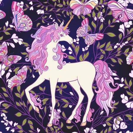 Das Einhorn, Rosen und Schmetterlinge Nahtloses Muster in den rosa, purpurroten Farben. Auf einem schwarzen Hintergrund. Vektor auf Lager. Standard-Bild - 86422520