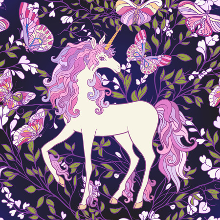 De eenhoorn, rozen en vlinders Naadloos patroon in roze, paarse kleuren. Op een zwarte achtergrond. Voorraad vector.