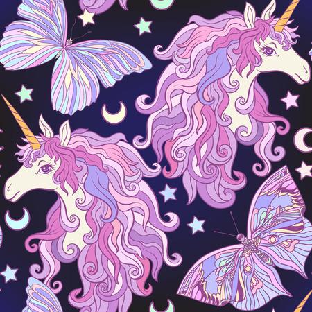 Eenhoorn met veelkleurige manen, vlinderregenboog, ster. Naadloos patroon in roze, purpere kleuren. Op een zwarte achtergrond. Voorraad vector.