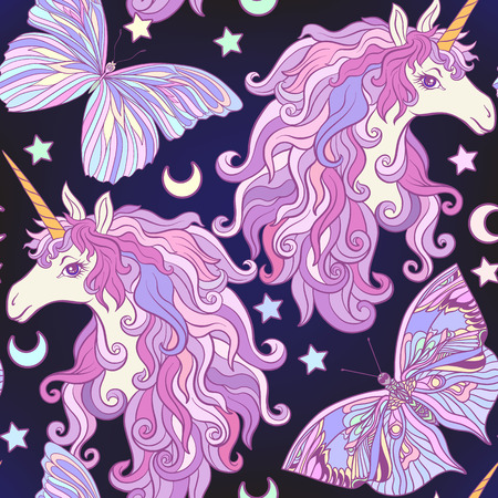 Unicorn with multicolored mane, butterfly rainbow, star. Seamless pattern in pink, purple colors. On a black background. Stock vector.