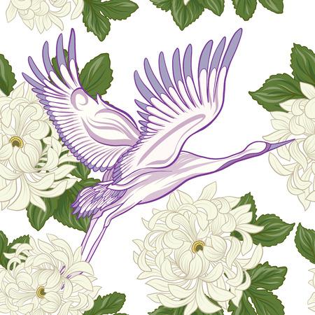 Crane et chrysanthème icône Banque d'images - 86422556