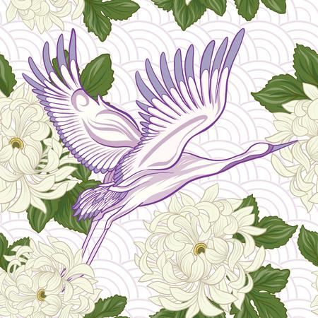 Crane et chrysanthème icône Banque d'images - 86422562