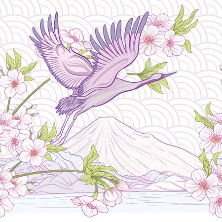Crane et chrysanthème icône Banque d'images - 86422563