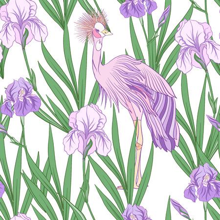 Modèle sans couture avec iris pourpre dans un style japonais. Vecteur stoc Banque d'images - 86422592