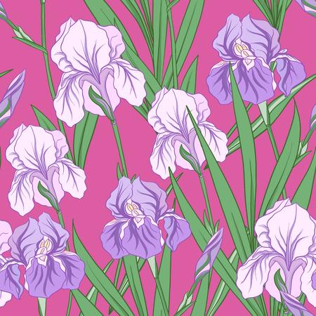 Modèle sans couture avec iris pourpre dans un style japonais. Vecteur stoc Banque d'images - 86422599